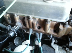 The spark plugs are removed